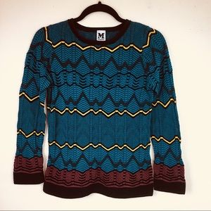 M Missoni Graphic Zigzag Print Knit Sweater Top